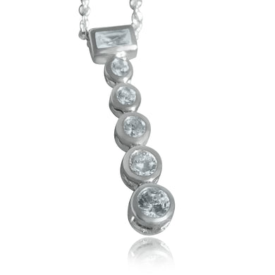 LOAS1371 - Rhodium Plating 925 Sterling Silver Chain Pendant with AAA CZ in Clear