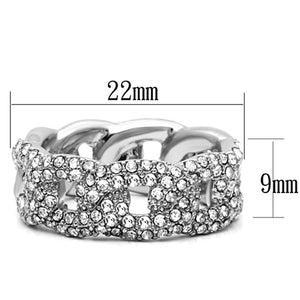LO3210 - Rhodium Brass Ring with Top Grade Crystal  in Clear