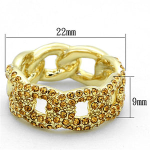 LO3216 - Gold Brass Ring with Top Grade Crystal  in Smoked Quartz