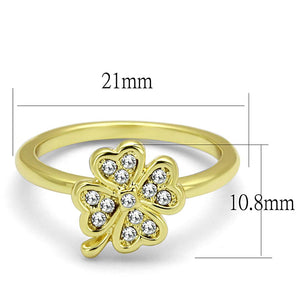 LO3987 Flash Gold Brass Ring with Top Grade Crystal in K2