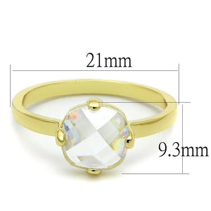 LO4078 - Flash Gold Brass Ring with AAA Grade CZ  in Clear