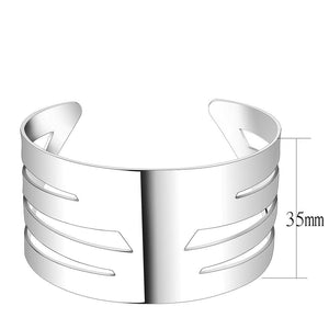 LO4659 - Matte Rhodium & Rhodium Stainless Steel Bangle with No Stone