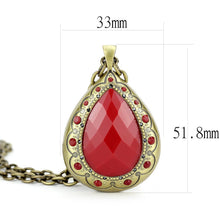 Load image into Gallery viewer, LO4686 - Antique Copper Brass Chain Pendant with Synthetic Synthetic Stone in Red Series