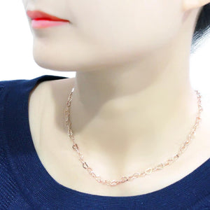 LO4695 - Flash Rose Gold Brass Necklace with No Stone