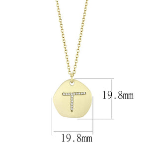LO4698 - Gold & Brush Brass Chain Pendant with Top Grade Crystal  in Clear