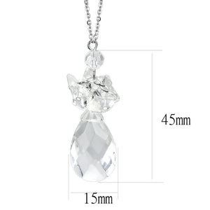 LO4711 - Rhodium Brass Chain Pendant with AAA Grade CZ  in Clear