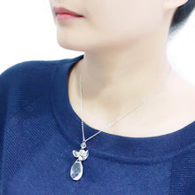 Load image into Gallery viewer, LO4711 - Rhodium Brass Chain Pendant with AAA Grade CZ  in Clear