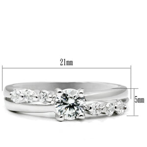 LO4713 - Rhodium Brass Ring with AAA Grade CZ  in Clear