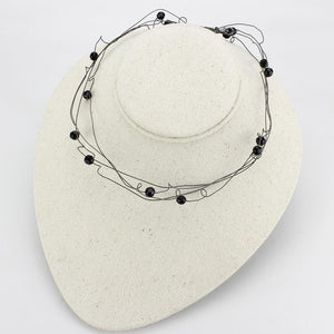 LO4719 - Ruthenium White Metal Necklace with Synthetic Synthetic Glass in Jet