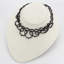Load image into Gallery viewer, LO4721 - Rhodium Brass Necklace with Synthetic Synthetic Glass in Jet
