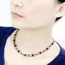 Load image into Gallery viewer, LO4723 - Ruthenium White Metal Necklace with Synthetic Synthetic Glass in Jet