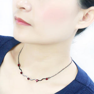 LO4730 - Ruthenium White Metal Necklace with AAA Grade CZ  in Siam