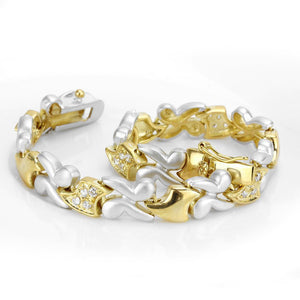 LO4736 - Gold+Rhodium Brass Bracelet with AAA Grade CZ  in Clear