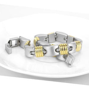 LO4738 - Gold+Rhodium White Metal Bracelet with No Stone