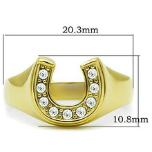 Load image into Gallery viewer, TK10616G - IP Gold(Ion Plating) Stainless Steel Ring with Top Grade Crystal  in Clear