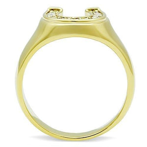 TK10616G - IP Gold(Ion Plating) Stainless Steel Ring with Top Grade Crystal  in Clear