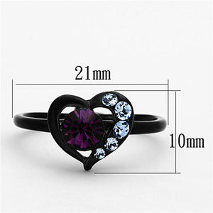 TK1300 - IP Black(Ion Plating) Stainless Steel Ring with Top Grade Crystal  in Amethyst