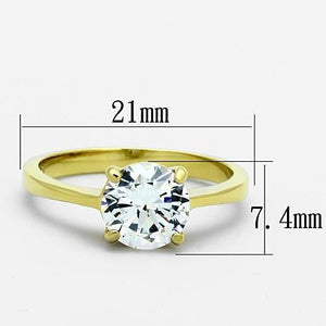 TK1405 - IP Gold(Ion Plating) Stainless Steel Ring with AAA Grade CZ  in Clear