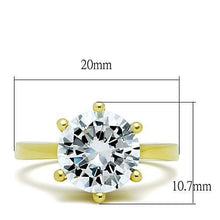 Load image into Gallery viewer, TK1407 - IP Gold(Ion Plating) Stainless Steel Ring with AAA Grade CZ  in Clear