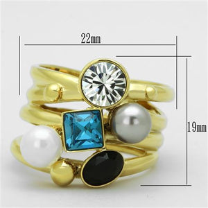 TK1440 - IP Gold(Ion Plating) Stainless Steel Ring with Synthetic Pearl in Multi Color