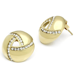 TK1499 - IP Gold(Ion Plating) Stainless Steel Earrings with Top Grade Crystal  in Clear