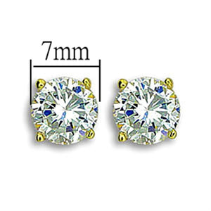 TK1504 - IP Gold(Ion Plating) Stainless Steel Earrings with AAA Grade CZ  in Clear