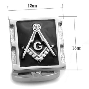 TK1650 - High polished (no plating) Stainless Steel Cufflink with Top Grade Crystal  in Clear