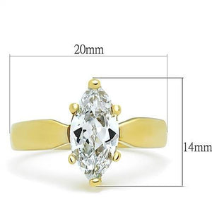 TK1673 - IP Gold(Ion Plating) Stainless Steel Ring with AAA Grade CZ  in Clear