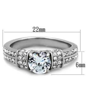 TK1921 - High polished (no plating) Stainless Steel Ring with AAA Grade CZ  in Clear