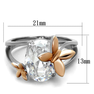 TK2135 - Two-Tone IP Rose Gold Stainless Steel Ring with AAA Grade CZ  in Clear