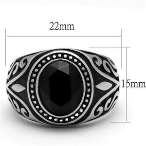 TK2231 - High polished (no plating) Stainless Steel Ring with Top Grade Crystal  in Jet