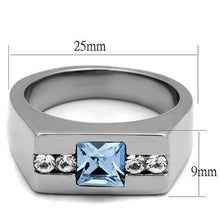 Load image into Gallery viewer, TK2307 - High polished (no plating) Stainless Steel Ring with Top Grade Crystal  in Aquamarine