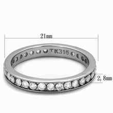 Load image into Gallery viewer, TK2343 - High polished (no plating) Stainless Steel Ring with AAA Grade CZ  in Clear