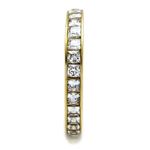 TK2344G - IP Gold(Ion Plating) Stainless Steel Ring with AAA Grade CZ  in Clear