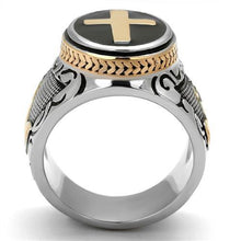Load image into Gallery viewer, TK2623 - Two-Tone IP Rose Gold Stainless Steel Ring with Epoxy  in Jet