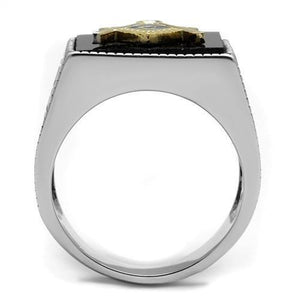 TK3018 - Two-Tone IP Gold (Ion Plating) Stainless Steel Ring with Semi-Precious Agate in Jet