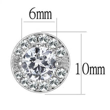 Load image into Gallery viewer, TK3103 - High polished (no plating) Stainless Steel Earrings with AAA Grade CZ  in Clear