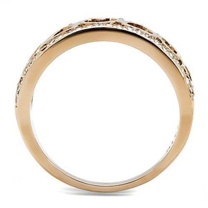 TK3194 - IP Rose Gold(Ion Plating) Stainless Steel Ring with Top Grade Crystal  in Clear