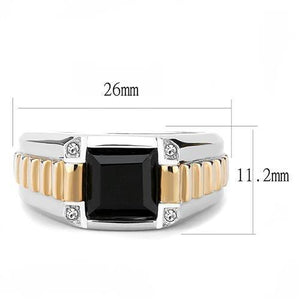 TK3227 - Two-Tone IP Rose Gold Stainless Steel Ring with Synthetic Onyx in Jet
