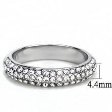 Load image into Gallery viewer, TK3437 - High polished (no plating) Stainless Steel Ring with Top Grade Crystal  in Clear