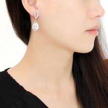 Load image into Gallery viewer, TK3474 - High polished (no plating) Stainless Steel Earrings with AAA Grade CZ  in Clear