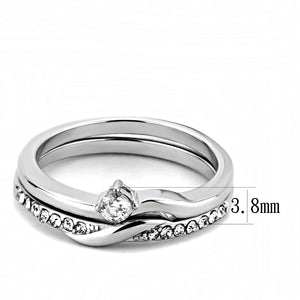 TK3508 - High polished (no plating) Stainless Steel Ring with AAA Grade CZ  in Clear