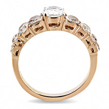 Load image into Gallery viewer, TK3516 - IP Rose Gold(Ion Plating) Stainless Steel Ring with AAA Grade CZ  in Clear
