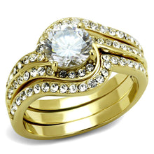 Load image into Gallery viewer, TK3527 - IP Gold(Ion Plating) Stainless Steel Ring with Top Grade Crystal  in Clear
