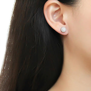 TK3544 - High polished (no plating) Stainless Steel Earrings with Top Grade Crystal  in Clear