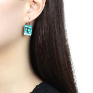 TK3649 - High polished (no plating) Stainless Steel Earrings with Top Grade Crystal  in Sea Blue