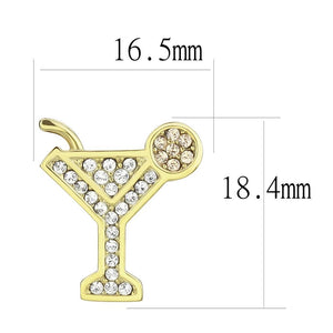 TK3660 - IP Gold(Ion Plating) Stainless Steel Earrings with Top Grade Crystal  in Silk
