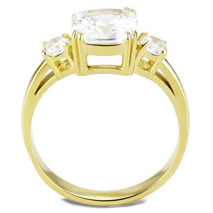 TK3674 - IP Gold(Ion Plating) Stainless Steel Ring with AAA Grade CZ  in Clear