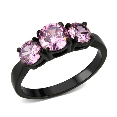 TK3742 - IP Black Stainless Steel Ring with AAA Grade CZ in Rose