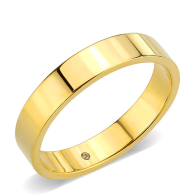 TK3832 - IP Gold Stainless Steel Ring with Top Grade Crystal in Clear